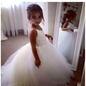 Off White Lace & Tulle Flower Girl Dress Dress