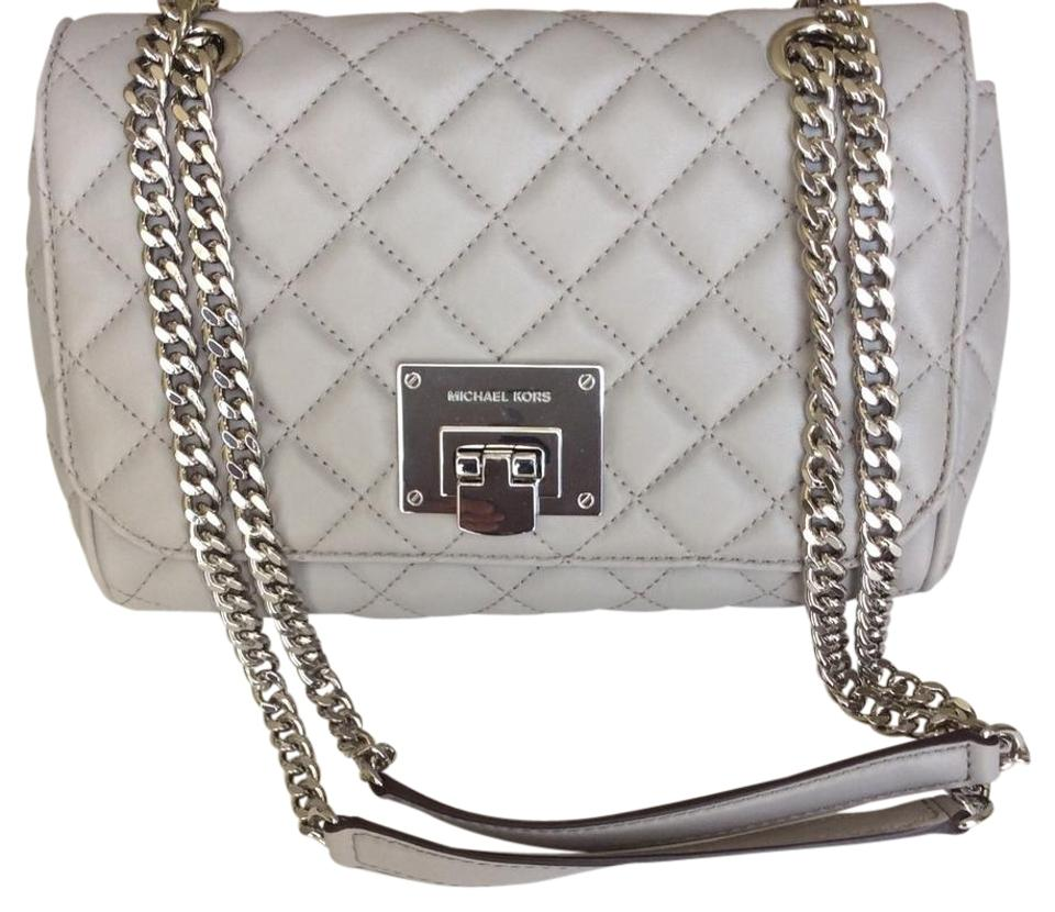 c0a3e6528a01 Michael Kors Vivianne Medium Quilted Pearl Grey Lambskin Leather Shoulder  Bag