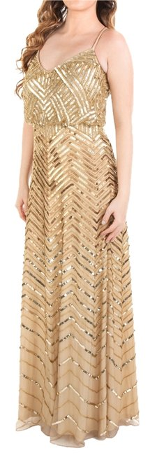 Item - Gold Embellished Blouson Gown Long Cocktail Dress Size Petite 6 (S)
