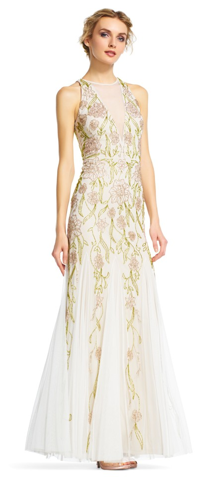 Adrianna Papell Ivory/Taupe Multi Beaded Halter with Chiffon Godet ...