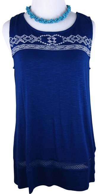 Preload https://img-static.tradesy.com/item/22249584/max-jeans-blue-white-embroidered-sleeveless-shirt-tank-topcami-size-4-s-0-3-650-650.jpg