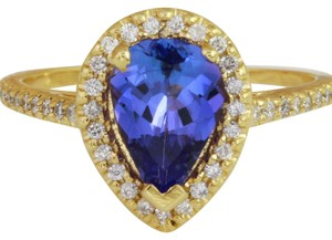 Other 1.50 Carats NATURAL TANZANITE and DIAMOND 14K Yellow Gold Ring