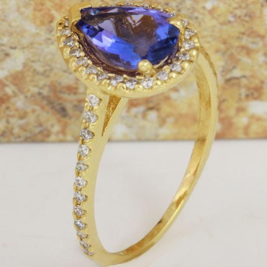 Other 1.50 Carats NATURAL TANZANITE and DIAMOND 14K Yellow Gold Ring Image 2