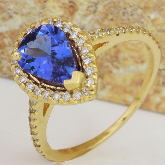Other 1.50 Carats NATURAL TANZANITE and DIAMOND 14K Yellow Gold Ring Image 3