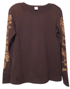 Peruvian Connection Print Knit Distressed Like New Top Brown, tan