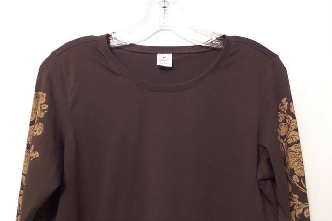 Peruvian Connection Print Knit Distressed Like New Top Brown, tan Image 1
