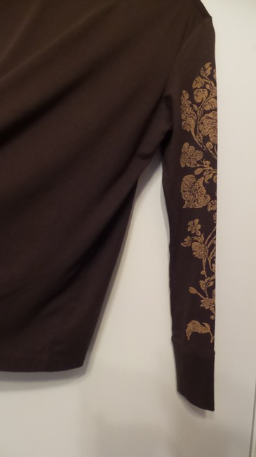 Peruvian Connection Print Knit Distressed Like New Top Brown, tan Image 4
