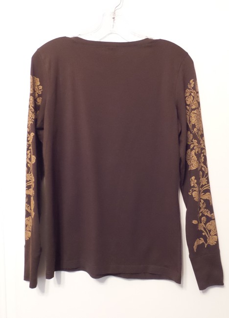 Peruvian Connection Print Knit Distressed Like New Top Brown, tan Image 5