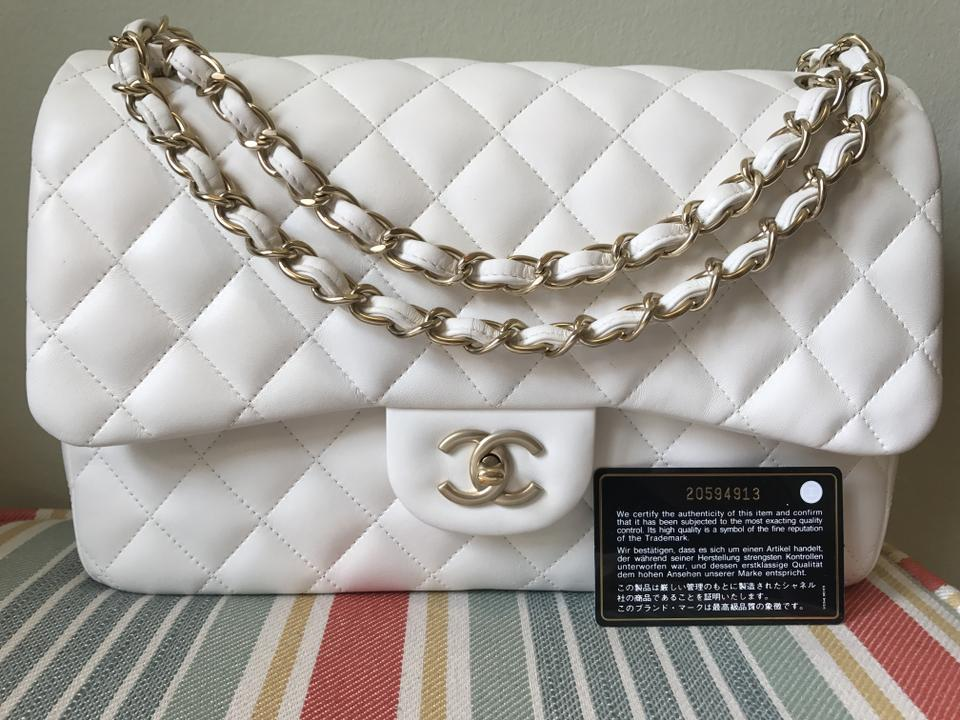 7164c84d78dc Chanel Double Flap Jumbo Quilted Ghw White with Brushed Gold Hardware  Lambskin Leather Shoulder Bag