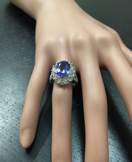 Other 5.91 Carats NATURAL TANZANITE and DIAMOND 14K White Gold Ring Image 4