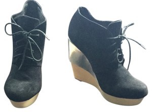 Matiko Silver Wedge Silver BLACK SUEDE Boots