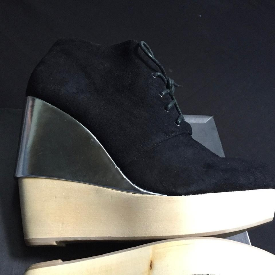 7e0d960efe2f Matiko Black Suede Women s Lace Up Wedge Heel Ankle Boots Booties ...