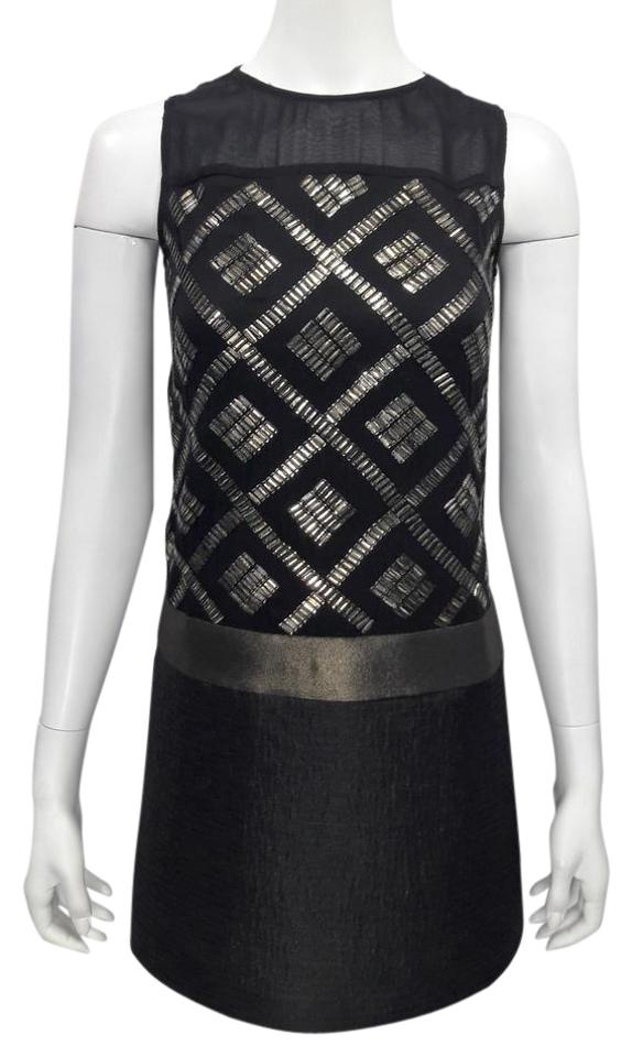 9932281fa0cc Ali Ro Black & Gold Silk S/L Jewel Nk Embellished Shift Hipster Night Out  Dress