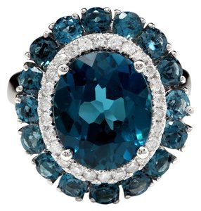 Other 8.45 Carats Natural London Blue Topaz and Diamond 14K White Gold Ring