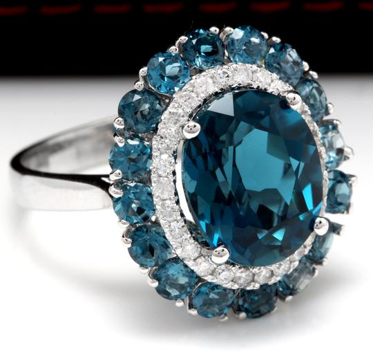 Other 8.45 Carats Natural London Blue Topaz and Diamond 14K White Gold Ring Image 1