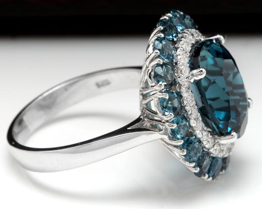 Other 8.45 Carats Natural London Blue Topaz and Diamond 14K White Gold Ring Image 2