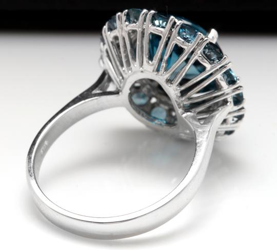 Other 8.45 Carats Natural London Blue Topaz and Diamond 14K White Gold Ring Image 3