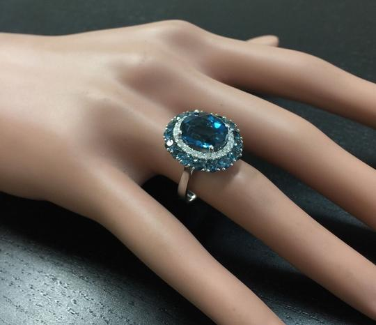 Other 8.45 Carats Natural London Blue Topaz and Diamond 14K White Gold Ring Image 4