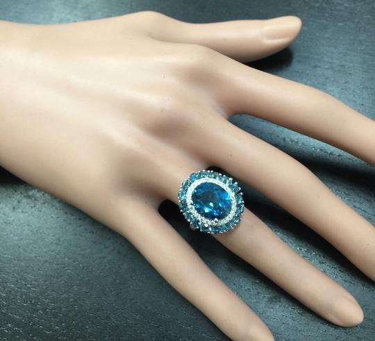 Other 8.45 Carats Natural London Blue Topaz and Diamond 14K White Gold Ring Image 6