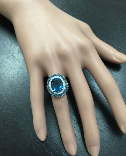 Other 8.45 Carats Natural London Blue Topaz and Diamond 14K White Gold Ring Image 7
