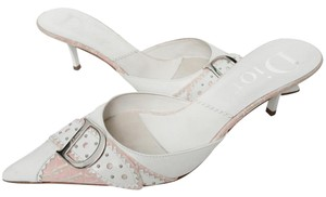 Dior Leather Casual Embroidered Embellished White Mules