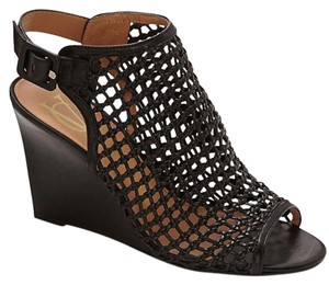 Vince Camuto Leather Mesh Black Wedges