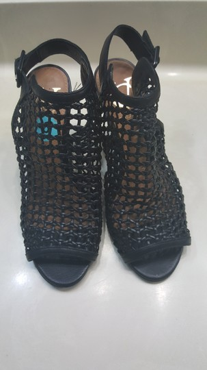 Vince Camuto Leather Mesh Black Wedges Image 1