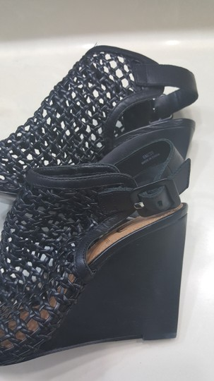 Vince Camuto Leather Mesh Black Wedges Image 2