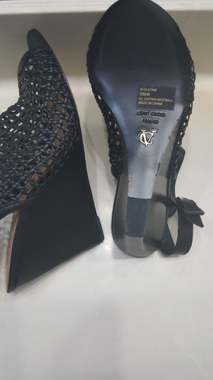 Vince Camuto Leather Mesh Black Wedges Image 4