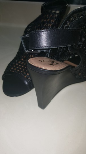 Vince Camuto Leather Mesh Black Wedges Image 5