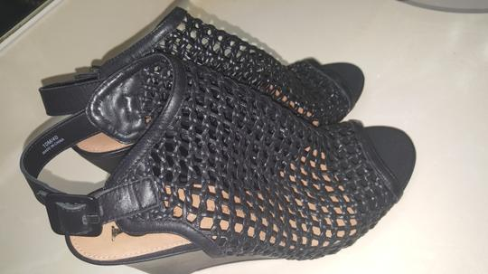 Vince Camuto Leather Mesh Black Wedges Image 6