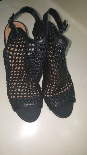 Vince Camuto Leather Mesh Black Wedges Image 7