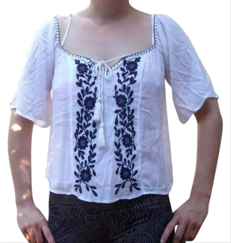 fc429bd3007cd1 Band of Gypsies White Blue Off The Shoulder Hippie Gypsy Boho Blouse ...