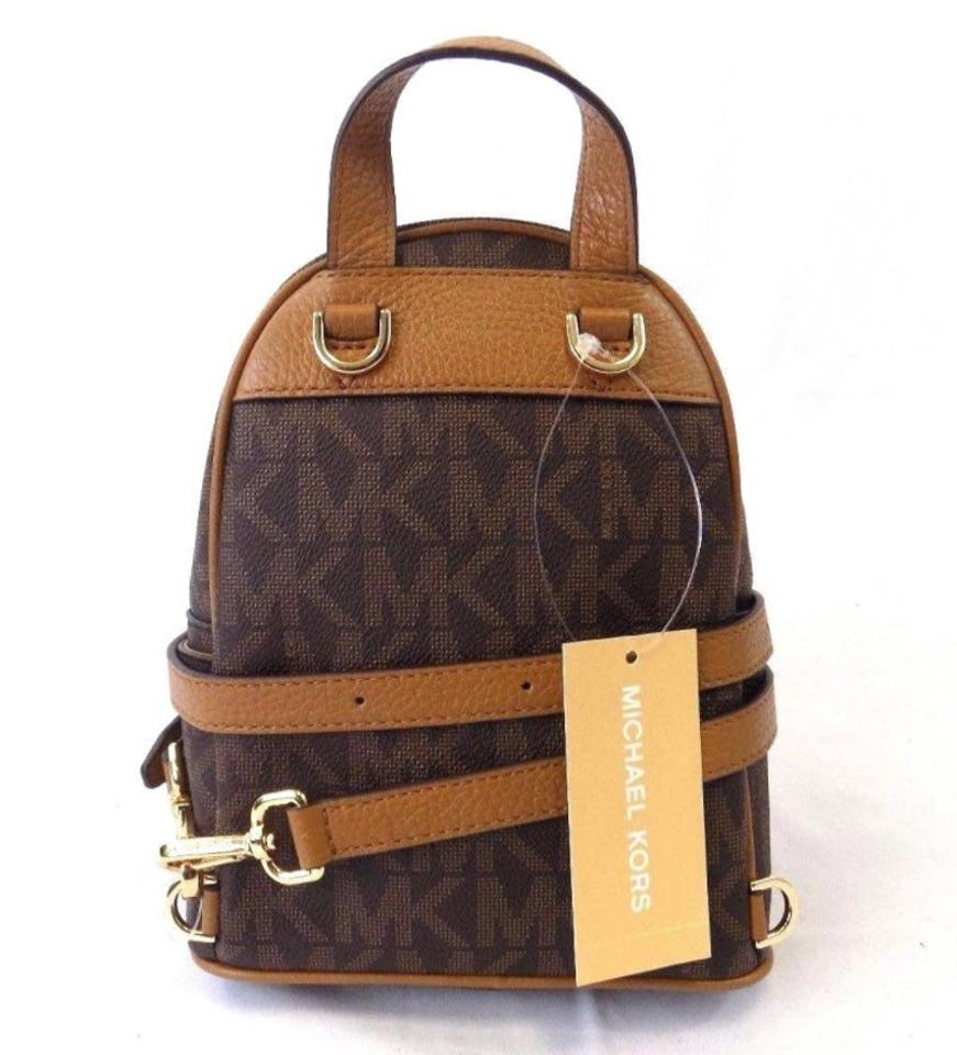 ba0dad884a80f9 Michael Kors Abbey Xs Signature Crossbody Brown Acorn Leather Canvas  Backpack - Tradesy
