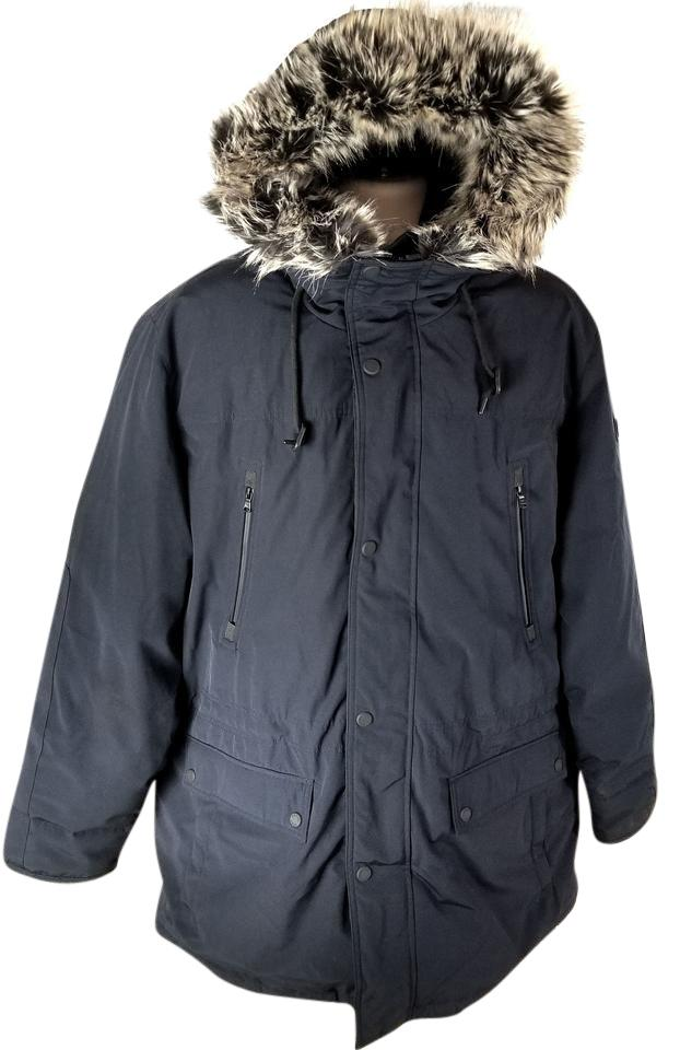11c625eae42 MICHAEL Michael Kors Navy Blue Men s Long Hooded Parka with Faux Fur ...