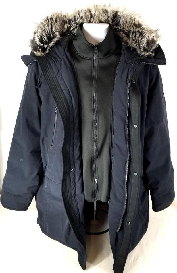 3ae5d6855d7 MICHAEL Michael Kors Navy Blue Men s Long Hooded Parka with Faux Fur Trim  Coat Size 22 (Plus 2x) - Tradesy