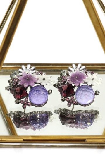 Ocean Fashion Lovely purple crystal flower earrings Image 1