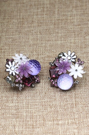 Ocean Fashion Lovely purple crystal flower earrings Image 2