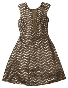 bebe Holiday New Years Sequin Flare Dress