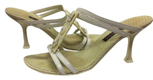 Escada Suede Ivory/Pearl Leather Black Sandals