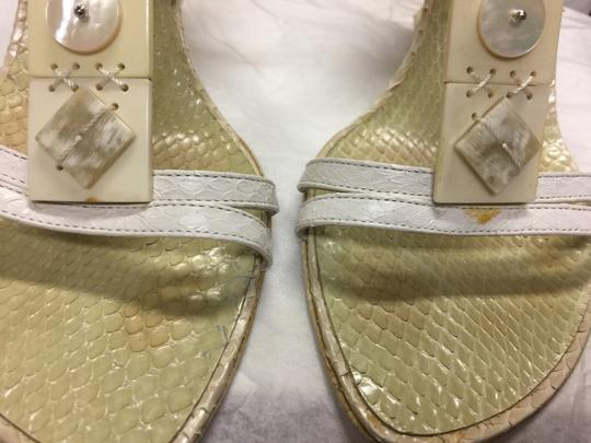 Escada Suede Ivory/Pearl Leather Black Sandals Image 3