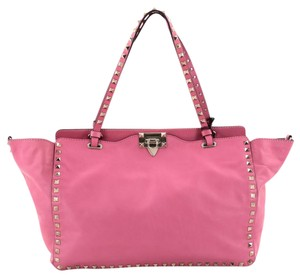 Valentino Leather Tote in Neon Pink