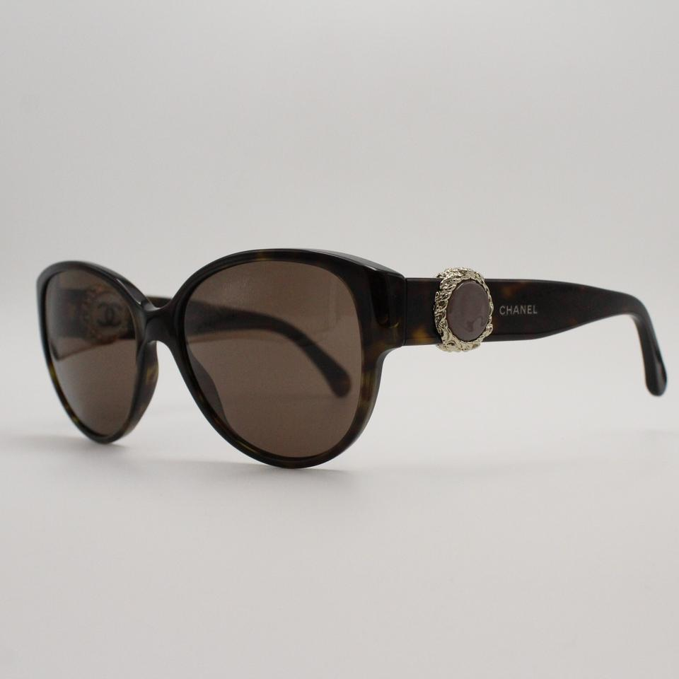 5ed18d4a00 Chanel Cat Eye Dark Tortoise Embellished Sunglasses 5192 c.714 3G Image 7.  12345678