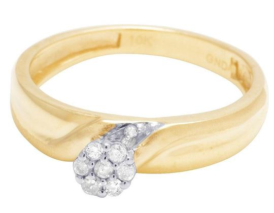 Jewelry Unlimited 10K Yellow Gold Diamond Cluster Trio Wedding Ring Set 0.16 Ct Image 1