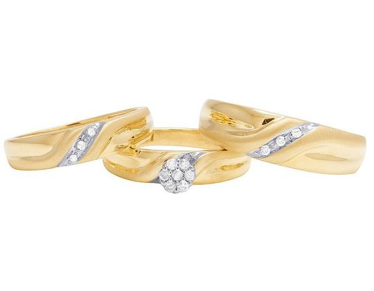 Jewelry Unlimited 10K Yellow Gold Diamond Cluster Trio Wedding Ring Set 0.16 Ct Image 2