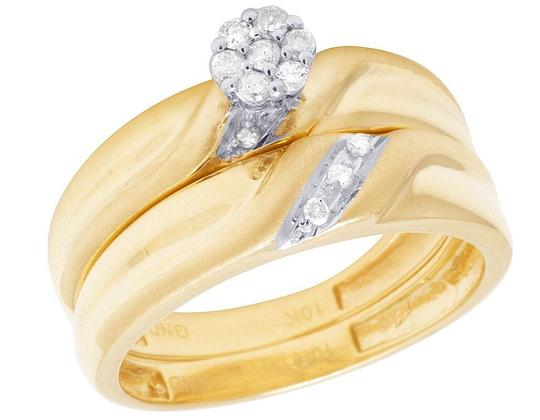Jewelry Unlimited 10K Yellow Gold Diamond Cluster Trio Wedding Ring Set 0.16 Ct Image 5