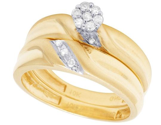 Jewelry Unlimited 10K Yellow Gold Diamond Cluster Trio Wedding Ring Set 0.16 Ct Image 6