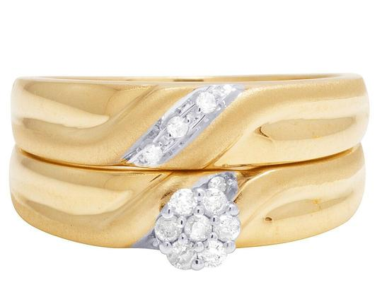Jewelry Unlimited 10K Yellow Gold Diamond Cluster Trio Wedding Ring Set 0.16 Ct Image 7