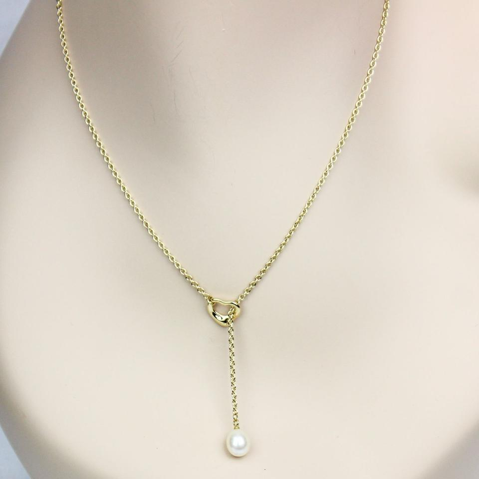 Tiffany co yellow gold white elsa peretti open heart lariat with elsa peretti open heart lariat necklace with pearl 123456789 aloadofball