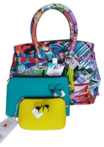 SAVE MY BAG - GRAFFITI POP ART Polyurethane Satchel in Multi-Colored